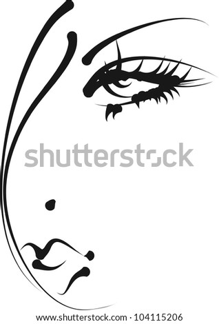 Hand-drawn fashion model. Vector illustration. Woman's face - stock photo