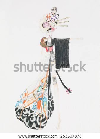 hand drawn fashion sketch inspired by japanese culture - stock photo