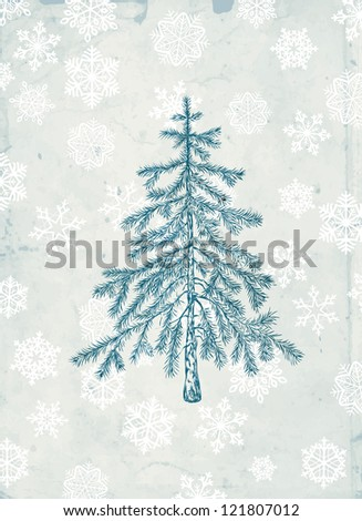 Hand- drawn fir tree on grunge background with falling snow - stock photo