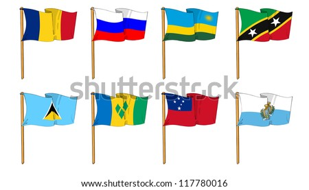 Hand-drawn Flags of the World - letter R & S - stock photo