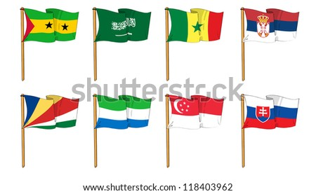 Hand-drawn Flags of the World - letter S - stock photo