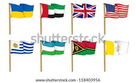 Hand-drawn Flags of the World - letter U & V