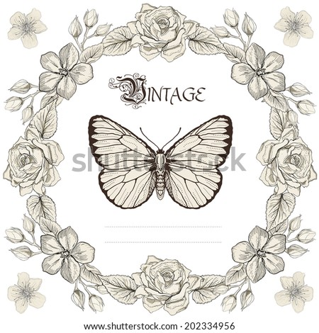 Hand drawn floral frame and butterfly. Vintage engraving style. Raster copy - stock photo