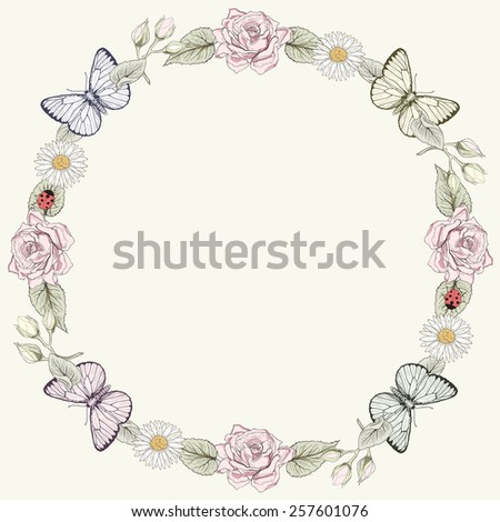 Hand drawn floral frame with butterflies. Ornate colorful illustration. Vintage engraving style - stock photo