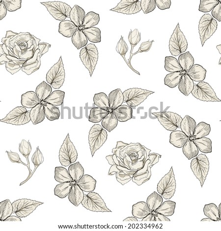 Hand drawn floral seamless pattern with roses, flower buds and leaves. Vintage engraving style. Raster copy - stock photo