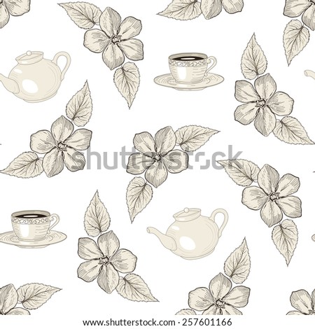 Hand drawn floral seamless pattern with tea pots and cups. Vintage engraving style - stock photo