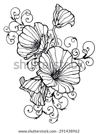 Hand Drawn Flowers In Abstract Design With Ornate Curls And Swirls Black Inked Floral