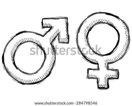 Hand drawn gender symbols. Sketch of man and woman signs in doodle style. Qualitative illustration about man, woman, sex differences, relationship, gender role, sexual orientation, etc - stock photo