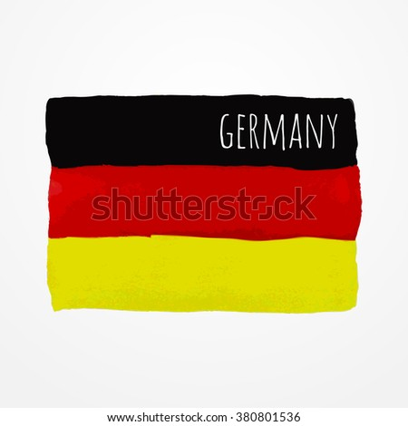 Hand drawn Germany flag with sample text, Germany state symbol, Germany raster stock image - stock photo