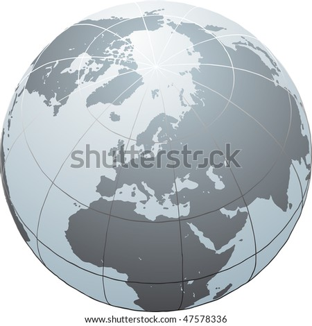 Hand drawn globe with Africa, Europe, Asia and North America - stock photo