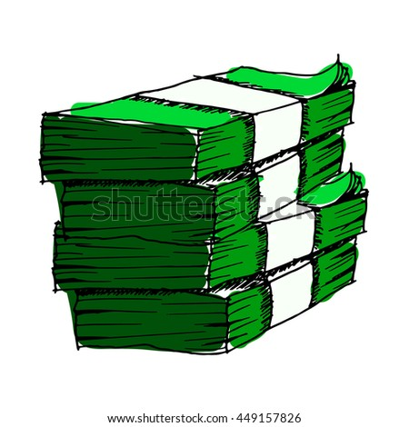 Hand drawn green money.illustration. - stock photo