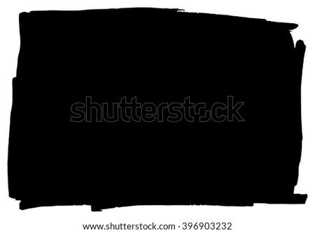 Hand drawn grungy black marker background frame element - stock photo