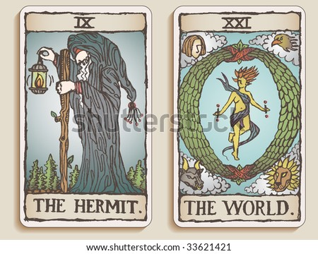 Hand-drawn, grungy, textured Tarot cards depicting The Hermit and The World. - stock photo