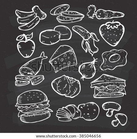 hand drawn healthy food on chalkboard background - stock photo