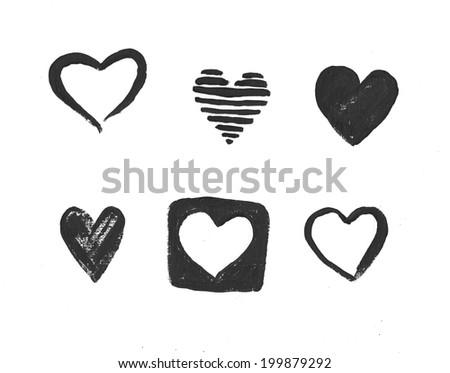 Hand drawn heart - stock photo