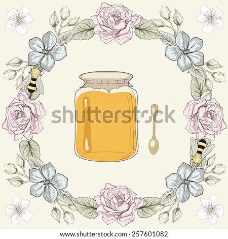 Hand drawn honey jar, spoon and bees in floral frame. Colorful illustration. Vintage engraving style - stock photo
