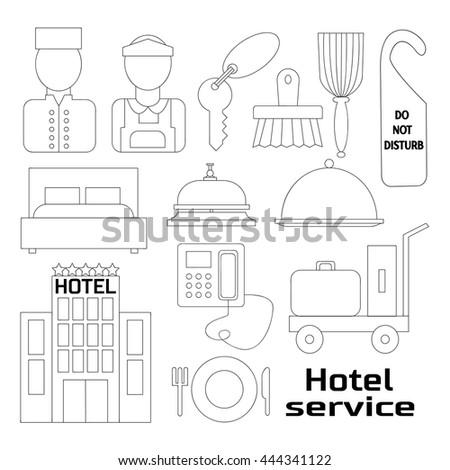 Hand drawn Hotel service icons and symbols set - stock photo