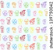 Hand Drawn Houses. Seamless Pattern. Childish. Raster Version - stock photo