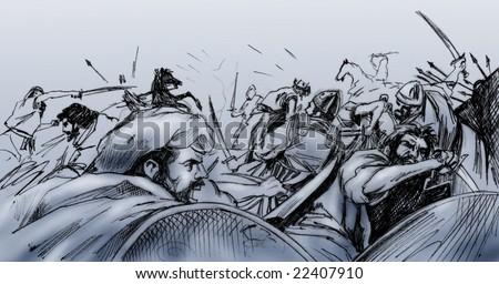 Hand drawn illustration - Ancient battle scene among Islamic and Christian warriors - Monochrome on grey/blue background - stock photo