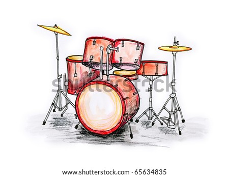 Hand drawn illustration of a drum set on white background - stock photo