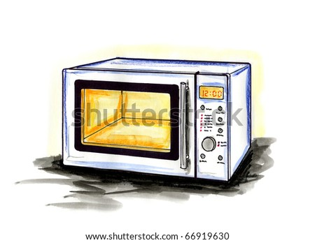Hand drawn illustration of a microwave oven on white background - stock photo