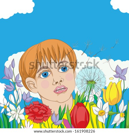 Hand drawn illustration of a spring outdoor scene, kid among flowers following a dandelion seed - stock photo