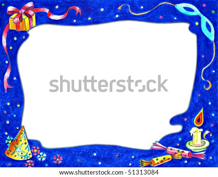Hand drawn illustration of Christmas frame with celebration elements . Great design for stationary template , greetings cards , photo frame and other print or web  projects . - stock photo