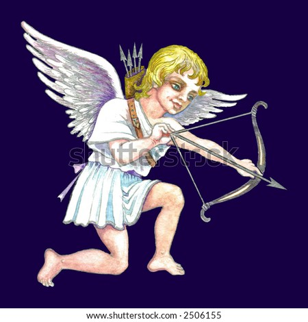 Hand drawn illustration of cupid with bow and arrow over dark blue background . - stock photo