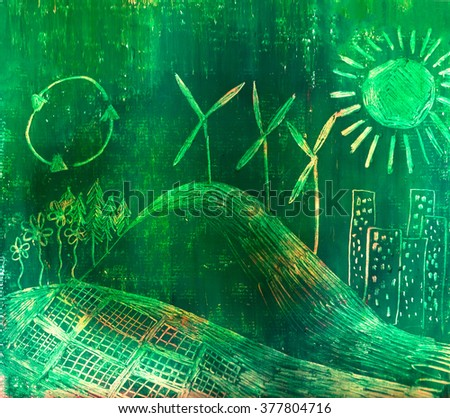 Hand drawn illustration of ecological landscape with wind power and photovoltaic field - stock photo