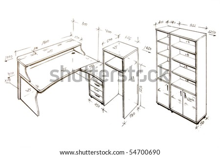 Hand drawn illustration of furniture isolated on white.