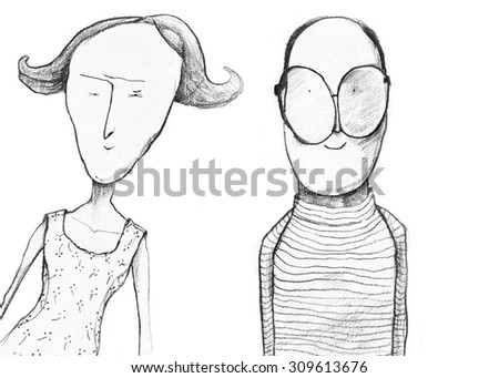 Hand drawn illustration of married couple  - stock photo