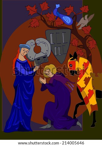Hand drawn illustration of medieval picture with lady and knight