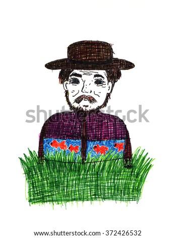 Hand drawn illustration of old man, colorful drawing. drawing cartoon, Grey Hair. hat - stock photo