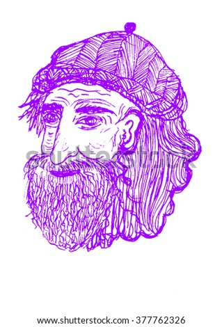 Hand drawn illustration of old man, green purple and white drawing. drawing cartoon, Grey Hair - stock photo