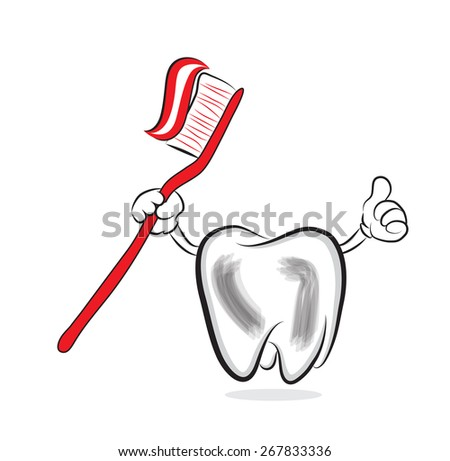 Hand drawn illustration of tooth holding toothbrush with toothpaste - stock photo