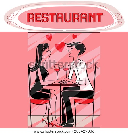 Hand drawn illustration of two lovers dining at the restaurant, talking and drinking wine, pink Valentine's Day card - stock photo