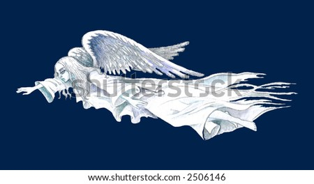 Hand drawn illustration of white flying guardian angel over contrast blue background . - stock photo
