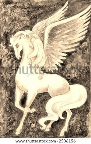 Hand drawn illustration of white vintage pegasus over fantasy background . - stock photo