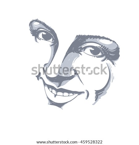 Hand-drawn illustration of woman face, black and white mask with emotions. Features of beautiful girl, posing for portrait. Caucasian type model posing for portrait. - stock photo