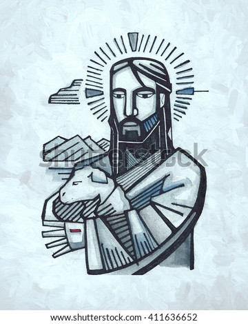 Hand drawn illustration or drawing of Jesus as Good Shepherd - stock photo