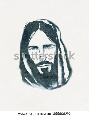 Hand drawn illustration or drawing of Jesus Christ face - stock photo