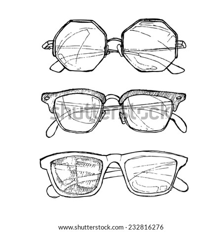 Hand drawn  illustration - sunglasses. Line art. Summer time.Ink. Feather. - stock photo