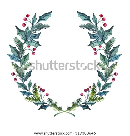 Hand drawn illustration - watercolor wreath. Christmas Wreath. Perfect for invitations, greeting cards, quotes, blogs, Wedding frames, posters and more. - stock photo