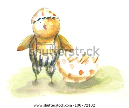 Hand drawn image of happy chick with egg - stock photo