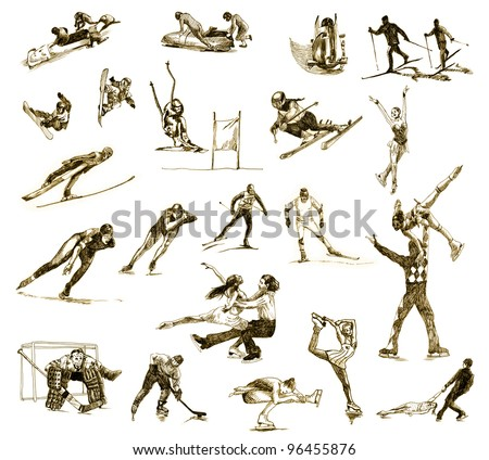 hand-drawn images - a collection of WINTER SPORTS - drawing with a hard tip marker - vintage variation in brown-black - stock photo