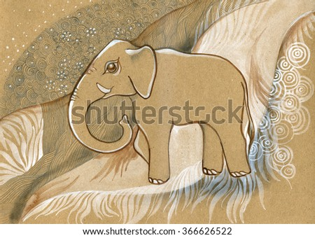 Hand drawn Indian patterned  elephant / african / indian / totem / tattoo design. Use for print, posters, t-shirts. - stock photo