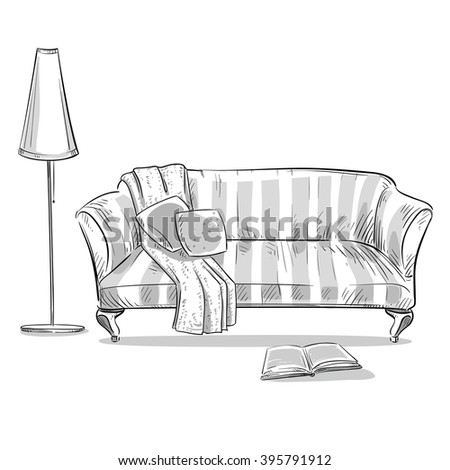 hand drawn interior element. Comfortable sofa and a lamp - stock photo