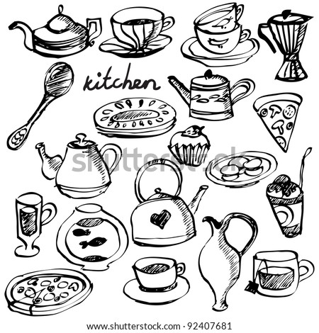 Hand-drawn kitchen stuff set - stock photo