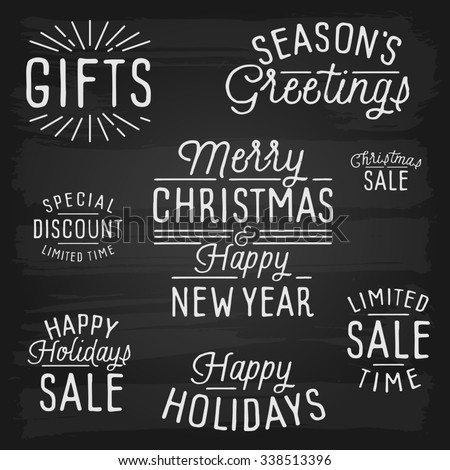 Hand drawn lettering slogans for Christmas and New Year. - stock photo
