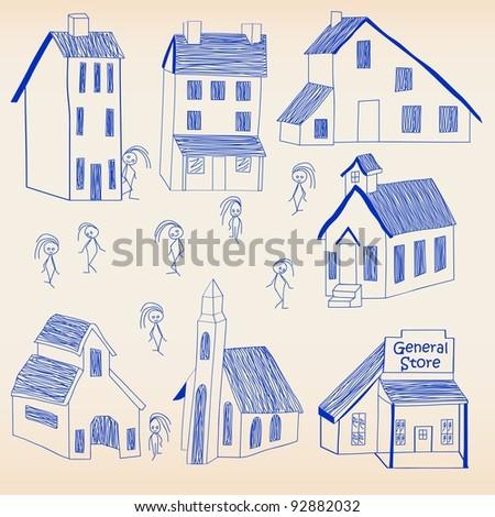 Hand Drawn Little Town Icon Set - stock photo